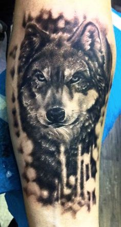 Black Ink Wolf Animal Tattoo On Half Sleeve