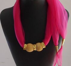 Festival Jewelry,Jewelry, Scarf Jewelry,Necklace,Hot Pink Scarf,Vintage Ceramic Beads,BOHO. Gold plated Rings,Gift for Her,Handmade
