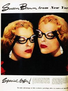 Michel lipstick promotion, featuring fabulous opera glasses. 1956. 50s color photo print ad