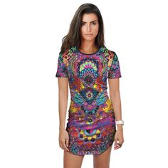 STARSEED ACTIVATION Fitted Tee Dress Rave Clothing Store, Festival Clothing, Online Clothing Stores, Festival Outfits, Women's Clothing, Rave Outfits, Fashion Outfits, Visionary Art, Tee Dress