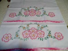Vintage Embroidery and Pink Crocheted Edge & Pink Flowers in Excellent Condition