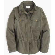 J.Crew McGuire army jacket ($415) ❤ liked on Polyvore featuring outerwear, jackets, field jacket, military jacket, vintage jacket, cinch jackets and vintage military jacket