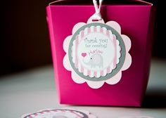 Elephant Favor Tag Birthday Gift Hanging Tags Thank you set of 24. $16.00, via Etsy.