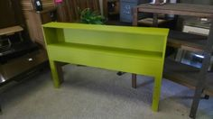 Chalk painted lime green head board