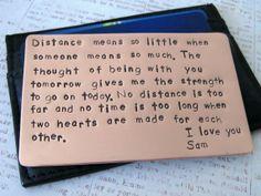 Wallet Insert Card, Hand Stamped Copper 7th Year Anniversary Gift Men Groom Husband Boyfriend