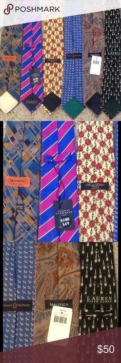 AMAZING NECK TIE LOT of 6, MISSONI, LAUREN, NWT NWT Lot of 6 silk neck ties.  MISSONI, Charles Tyrwhitt, Brooks Brothers, Tommy Hilfiger, Nautica, Lauren Ralph Lauren.  2 are NWT!  6 ties for the price of one!  Great gift!  Will ship right away.  Check out my other designer items Ralph Lauren Accessories Scarves & Wraps