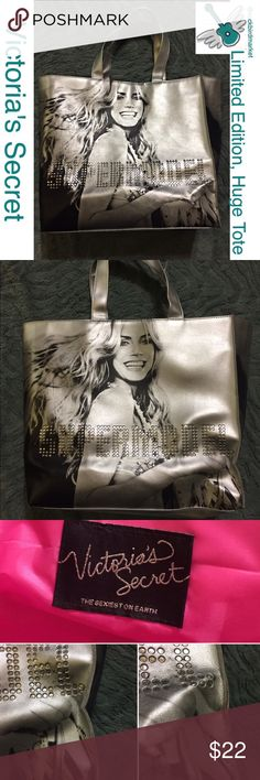 """Limited Edition, Victoria's Secret, XL large tote Heidi Klum, """"Supermodel"""" huge tote. It's about 15x16x5"""".  It is used and shows some wear on the seams and to the right of Heidi's face on one side.  There are a few other slight signs of wear. Nothing you can see without a close-up photo. There are photos of both the front and back sides featured here. Zoom in and look closely for the tiny flaws. Hot pink interior and approx 8"""" strap drop. Five star, suggested user, with hundreds of recent…"""