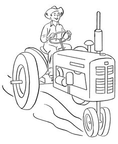 Farm vehicles coloring page | happy farmer driving a tractor