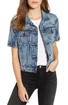 6259311651 HUDSON JEANS Designer Hudson Ruby Contour Short Sleeve Denim Jacket