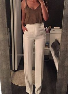 white summer high waisted pants with beige tank cami top blouse the most popular summer office attire