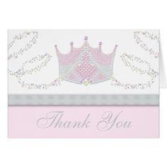 Pink Princess Thank You Cards