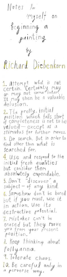 """Attempt what is not certain"" 10 Rules for Creative Projects from Iconic Painter Richard Diebenkorn"