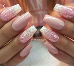 Pink glitter baby pink nails