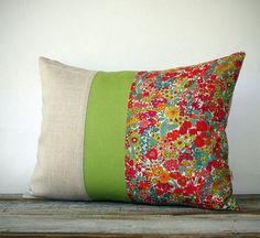 Bright Floral Liberty Print Pillow - Lime Green Stripe - Summer Home Decor - Margaret Annie - Neon #libertyprint #pillow