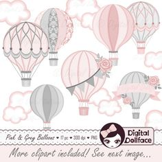 Hot Air Balloon Baby Shower Digital Clip Art, Commercial Use Clipart / Pink and Gray Baby Shower Printables by DigitalDollface on Etsy https://www.etsy.com/listing/475658126/hot-air-balloon-baby-shower-digital-clip