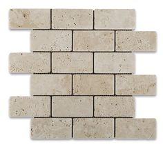 2 X 4 Ivory Travertine Tumbled Brick Mosaic Tile