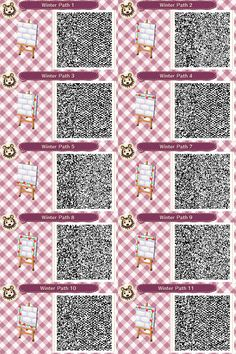 Welcome to Animal Crossing New Leaf Designs! Please don't ask for QR requests, as I don't do them. I haven't made any of these QR codes unless stated otherwise. Feel free to inbox me if any of the codes aren't sourced properly. Acnl Pfade, Acnl Paths, Motif Acnl, Ac New Leaf, Happy Home Designer, Animal Crossing Qr Codes Clothes, Stone Path, Forest Animals, My Animal