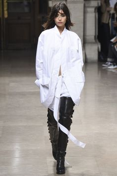 A.F. Vandevorst Spring 2016 oversized white shirt & thigh high black leather boots #style #fashion #runway