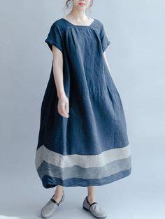 3aabf3d3c9 Maxi abito baggy a righe manica corta donna casual Vestiti Alla Moda Per  Donne, Abiti
