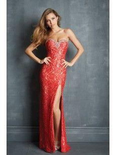Corazón Ajustado Barrer/Cepillo Tren Rhinestone Abalorio Lace Prom Dress