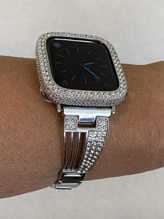 Apple Watch Band Silver and or Lab Diamond Bezel Iwatch Bling Black Apple Watch Band, Apple Watch Bands, Silver Apples, Apple Watch Accessories, Lab Diamonds, Fashion Watches, Bling, Silver Rhinestone, Etsy