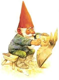 Gnomie hard at work on a wood carving...