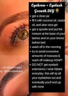 eyelash + eyebrow growth diy + how to grow your eyelashes + how to grow your eyebrows Beauty Care, Diy Beauty, Homemade Beauty, Face Beauty, Fashion Beauty, Beauty Hacks Every Girl Should Know, Maybelline, Beauty Hacks For Teens, Def Not