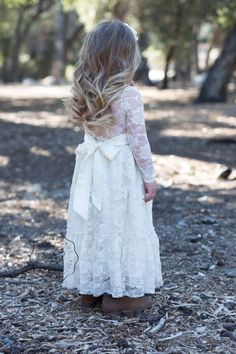 Lace Long Sleeve Flower Girl Dress or Special Occasion Dress! Long sleeve lace dress is perfect for an outdoor special occasion. Dress is lined and has zipper s Flower Girl Dresses Country, Boho Flower Girl, Girls Lace Dress, Lace Flower Girls, Lace Flowers, Girls Dresses, Lace Dresses, Dress Girl, Gypsy Dresses