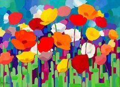 Beautiful Bold and Colourful Poppies. Printed on by BevGribbleArt