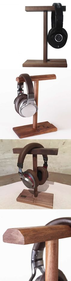 Universal Black Walnut Wooden Dual Headphone Stand Hanger Holder