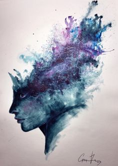 "Watercolor Abstract Portrait - ""Universal Mind"" Speed Painting Watch It! Abstract Watercolor Tutorial, Watercolor Art Landscape, Watercolor Splatter, Splatter Art, Watercolor Galaxy, Watercolor Art Paintings, Watercolour Tutorials, Watercolor Portraits, Watercolor Techniques"