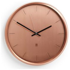 Umbra Meta Wall Clock - Copper (695.740 IDR) ❤ liked on Polyvore featuring home, home decor, clocks, decor, copper home accessories, copper clock, copper home decor, umbra wall clock and copper wall clock