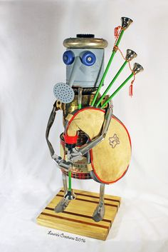 """Ian McClellan"" ~ Found object/junk art bagpiper created by Laurie Schnurer in 2016. To purchase one of Laurie's Creatures go to https://www.facebook.com/LauriesCreatures."