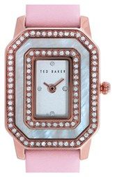 Ted Baker London Double Crystal Leather Strap Watch, 24mm