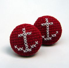 Super cute anchor cross stitch earrings by Magasin. £14.00, via Etsy.
