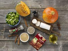 Sałatka jesienna z pieczoną dynia, serem kozim i słonecznikiem  - Krok 1
