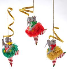 """Katherine's Collection Noel Christmas Collection Six Assorted 6.5"""" Noel Hippo Ribbon Dance Ornaments Free Ship"""