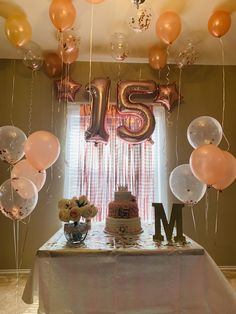 14 Birthday Party Ideas, 15th Birthday Decorations, Happy Birthday Decor, Happy Birthday Quotes For Friends, Balloon Decorations Party, Party Food Table Ideas, Birthday Captions, Birthday Balloons, Instagram
