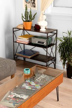 "Gallery Coffee Table - Urban Outfitters | I wish I had some woodworking skills. It seems like it would be pretty easy to build something like this. (47""l, 17""w, 17""h)"