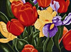 Image size x contains threads, printed fabric, notes, numbered line drawing and coloured picture for reference. Punch Needle Patterns, Paint By Number, Silk Painting, Line Drawing, Fiber Art, Tulips, Printing On Fabric, Embroidery, Drawings