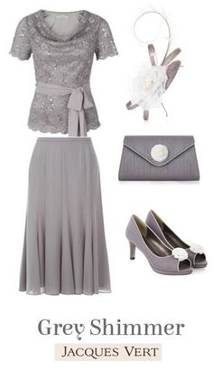 New In Mother of the Bride Outfits 2015 New Grey Shimmer Top and Skirt Set with matching accessories Mother Of The Bride from Jacques Vert Mother Of Bride Outfits, Mother Of Groom Dresses, Mothers Dresses, Mob Dresses, Bridesmaid Dresses, Bride Dresses, Mother Of The Bride Inspiration, Wedding Attire, Occasion Dresses