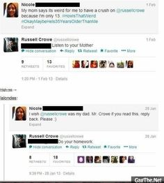 Russel Crowe talking to his fans.