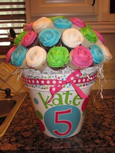 Kate's Cupcake Bouquet - Another cupcake bouquet inspired by this little girl's favorite colors!