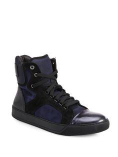 Lanvin Satin & Metallic Leather High-top Sneakers in Blue for Men (NAVY-METTALIC)