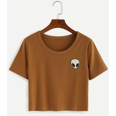SheIn(sheinside) Khaki Alien Print Crop T-shirt ($7.99) ❤ liked on Polyvore featuring tops, t-shirts, khaki, print t shirts, brown crop top, crop top, print tees and short sleeve crop top