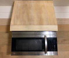 DIY faux vent hood with microwave Kitchen Vent Hood, Microwave Vent Hood, Microwave Above Stove, Oven Vent, Oven Hood, Microwave In Kitchen, New Kitchen, Kitchen Decor, Kitchen Ideas
