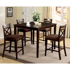 Furniture of America Gizelle 5 Piece Counter Height Table Set - IDF-3400PT-5PK