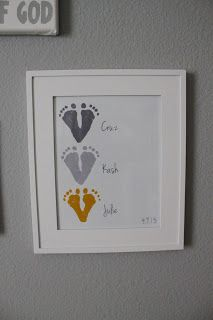 do it horizontal w/ 1 foot of mommy daddy and baby. simple and clean piece for the wall.