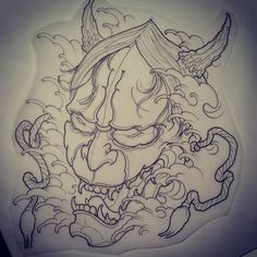 Hannya mask I drew last night up for grabs. Email joelomite@hotmail.com…