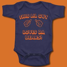Very cute onesie for Chicago Bears football fans
